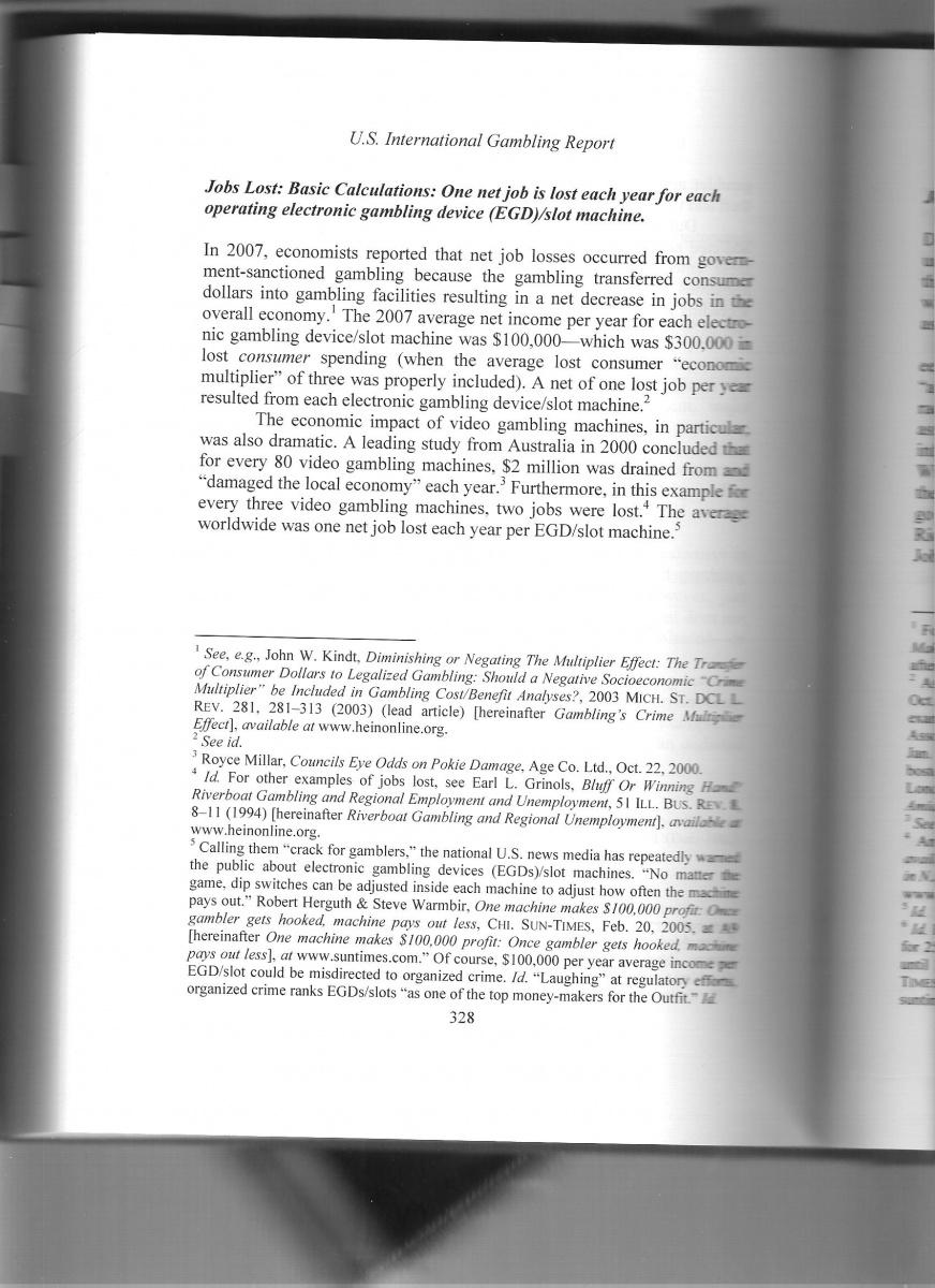 From US International Gambling Report, 2009, pg 328